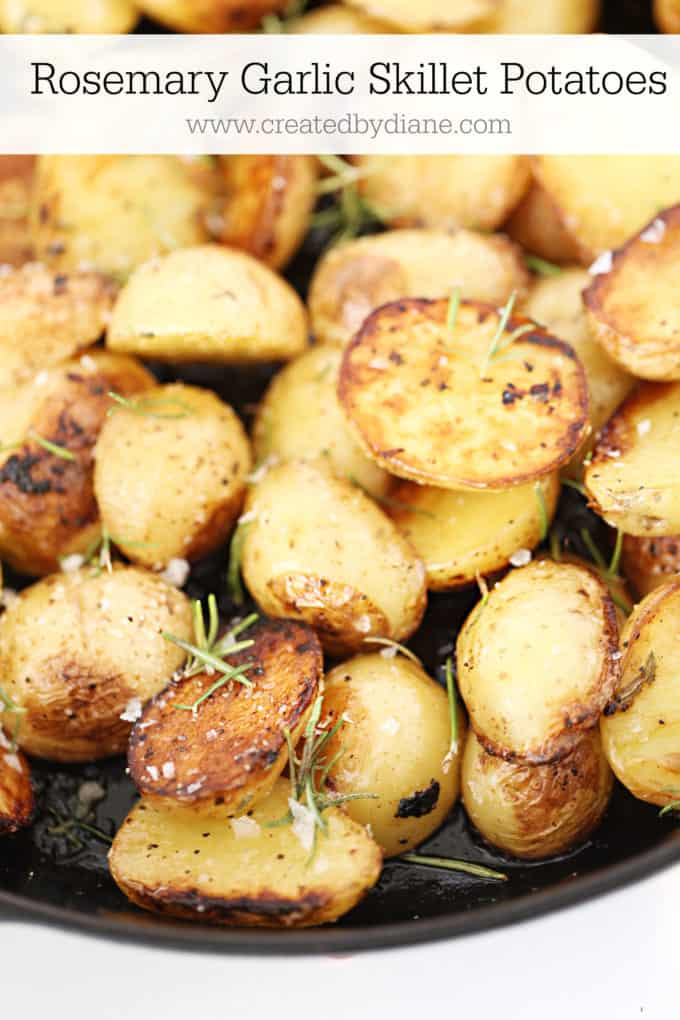rosemary garlic skillet potatoes wwwcreatedbydiane.com