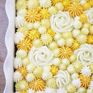 LEMON CAKE RECIPE with pretty yellow frosting createdbydiane.com