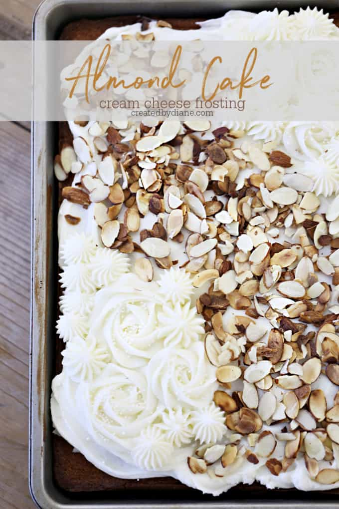 almond cake recipe with almond cream cheese frosting createdbydiane.com