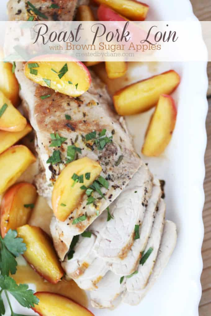 roasted pork loin with brown sugar apples recipe createdbydiane