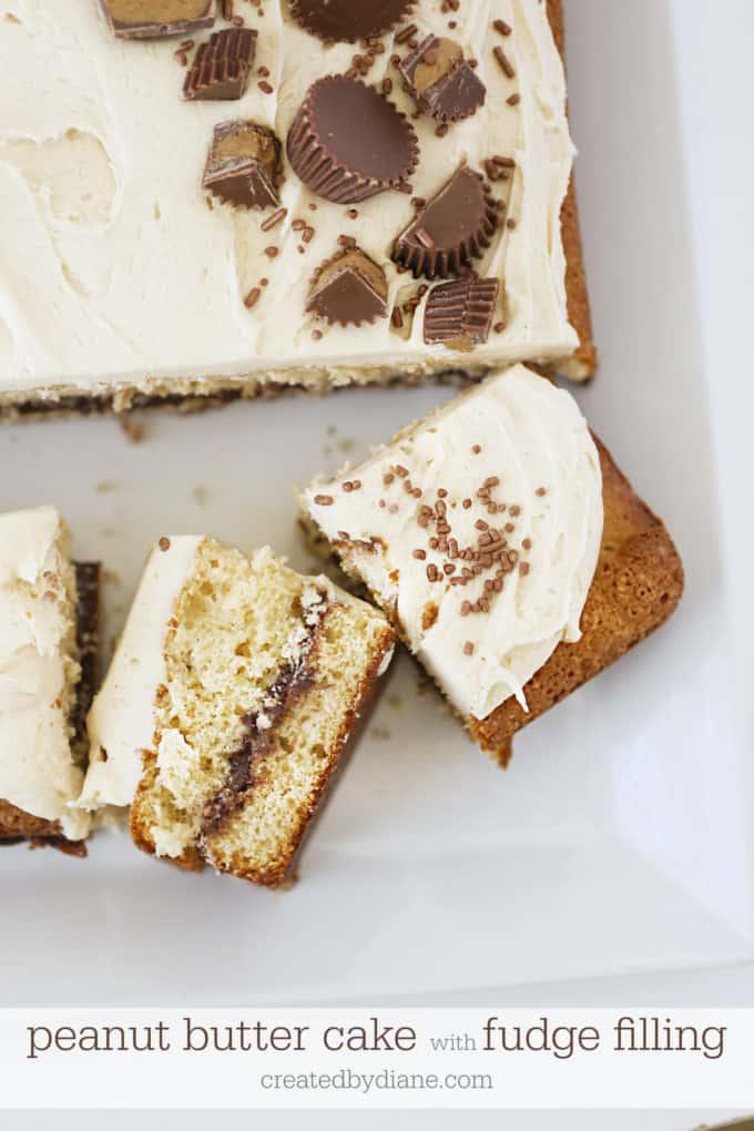 sliced peanut butter cake with fudge filling createdbydiane.com