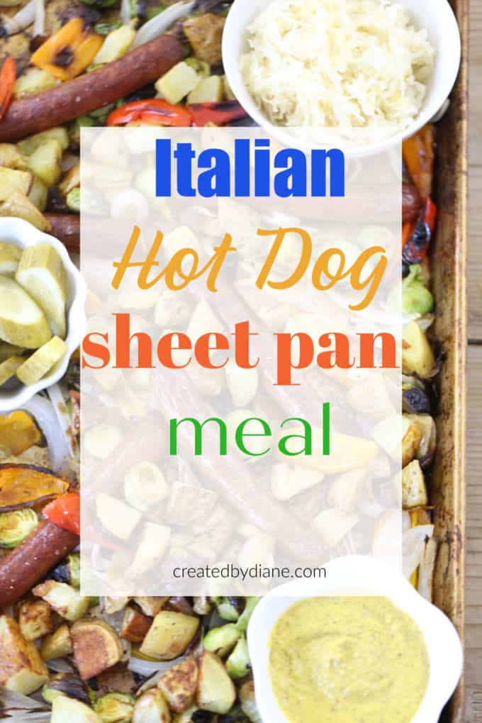 Italian hot dog sheet pan dinner