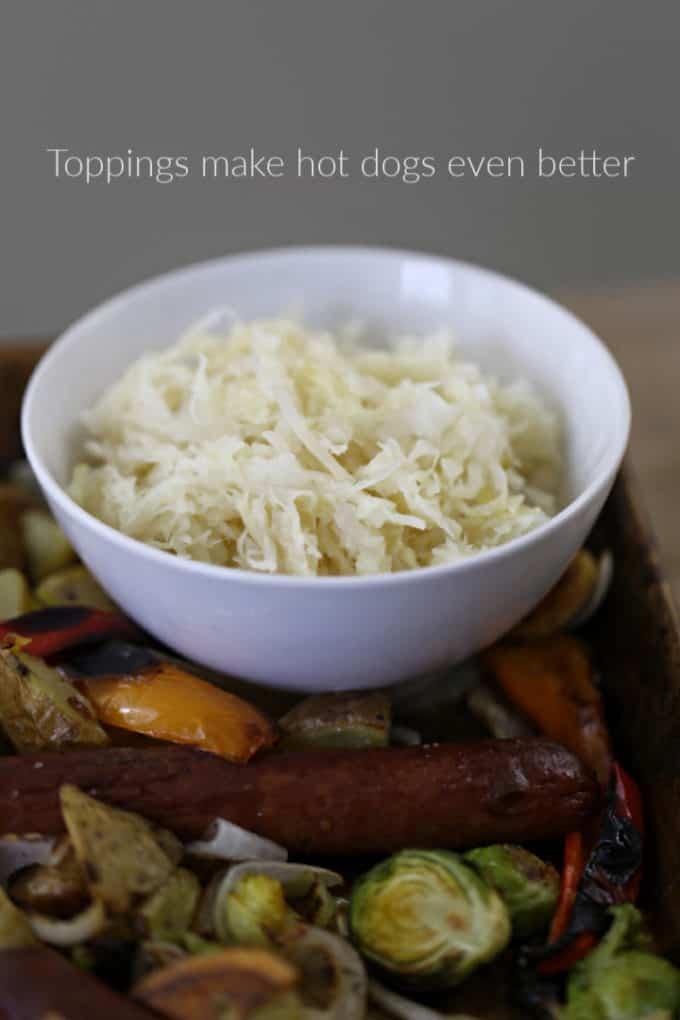 sauerkraut on hot dogs, createdbydiane.com