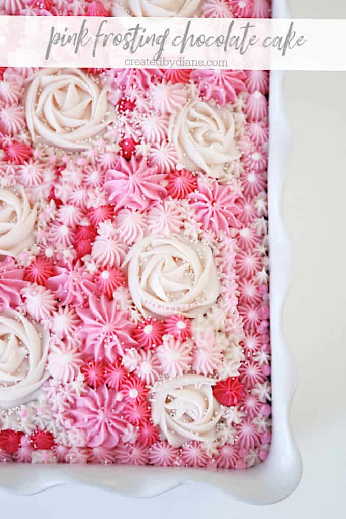 pink frosting chocolate cake 13x9 createdbydiane.com.jpeg copy copy
