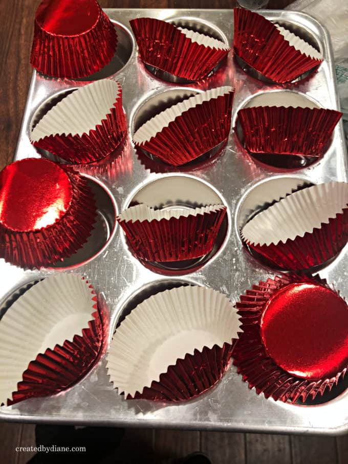 metallic red cupcake liners, shiny red cupcake liners, cupcake papers