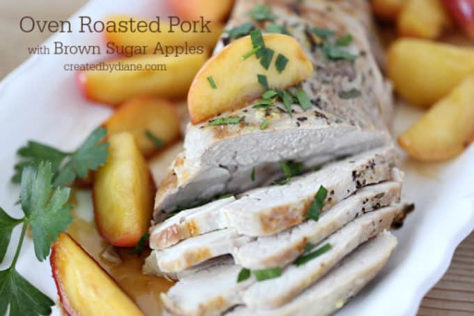 simple roasted pork loin with brown sugar apples createdbydiane.com