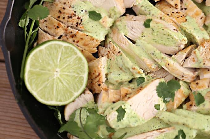 skillet chicken with creamy cilantro sauce createdbydiane.com
