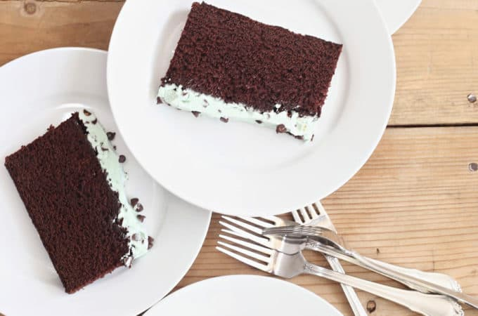Mint Chocolate Sheet Cake with Swiss Meringue Frosting Recipe createdbydiane.com