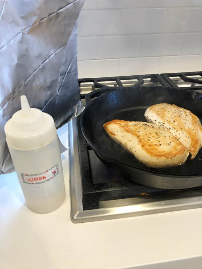 add water to steam chicken for remaining cooking time of chicken