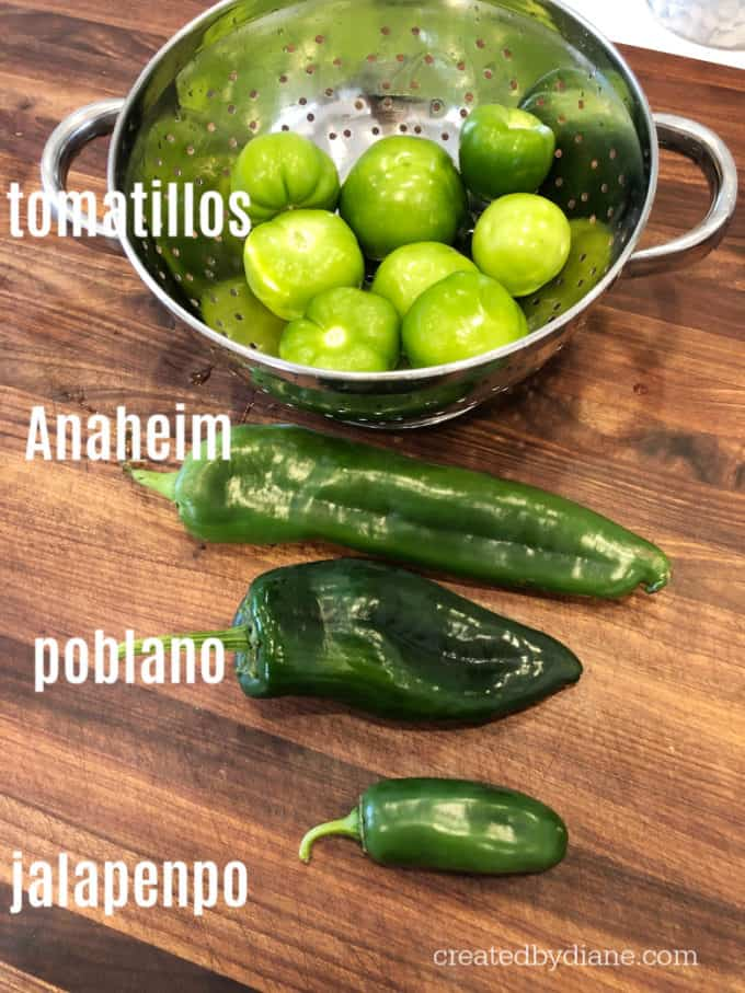 chili peppers and tomatillos