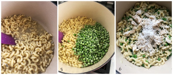 cooking pasta and peas with chicken
