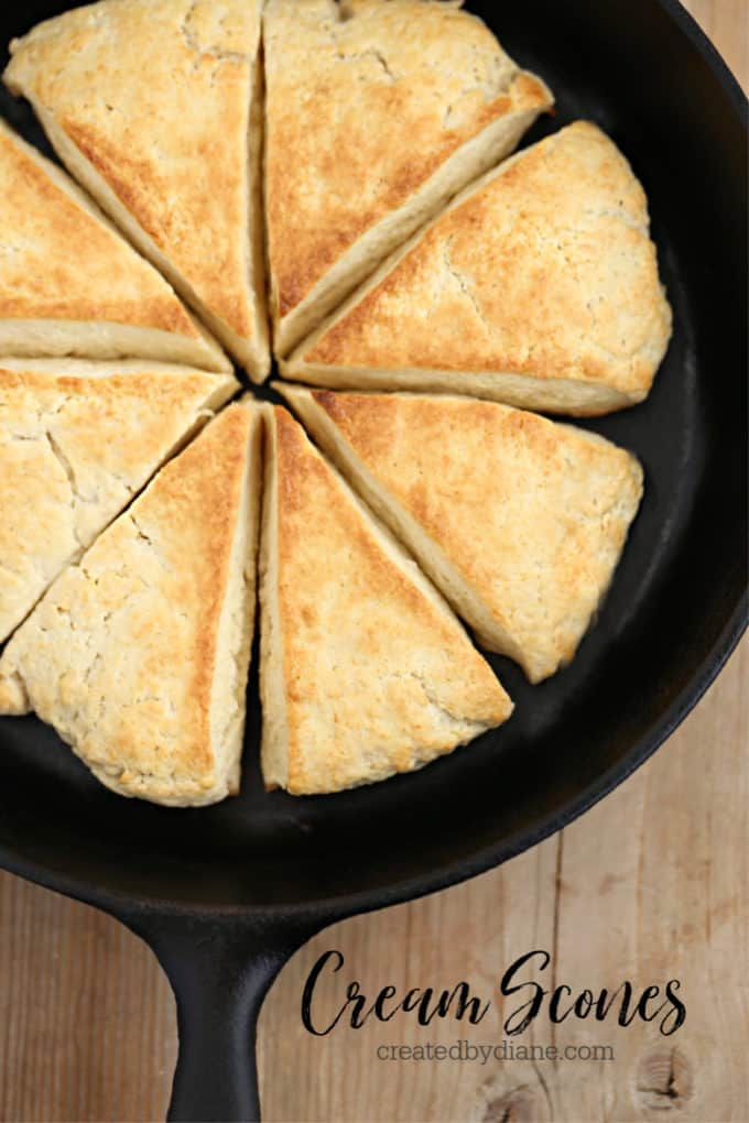 cream scone baked in a cast iron skillet