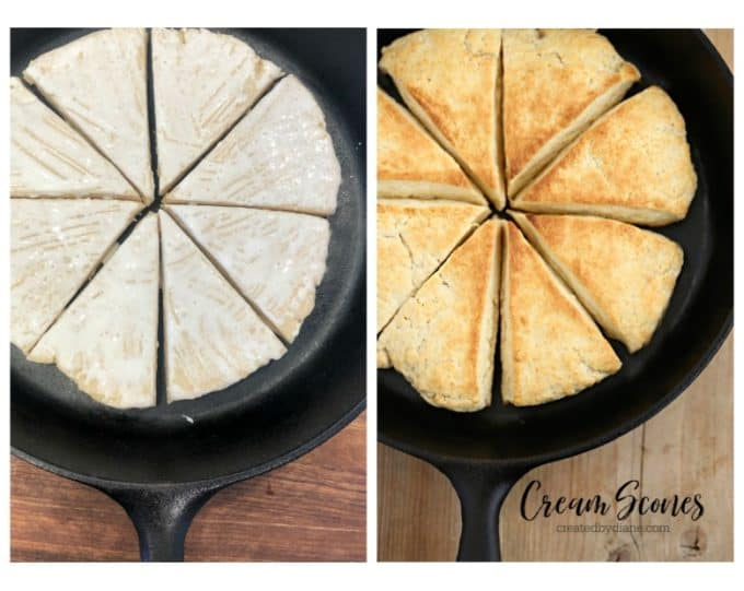 cream scones in a cast iron skillet createdbydiane.com