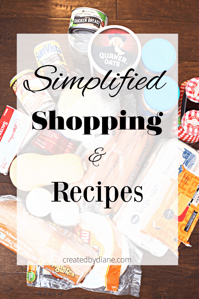 simplified shopping and recipes with printable shopping list createdbydiane.com