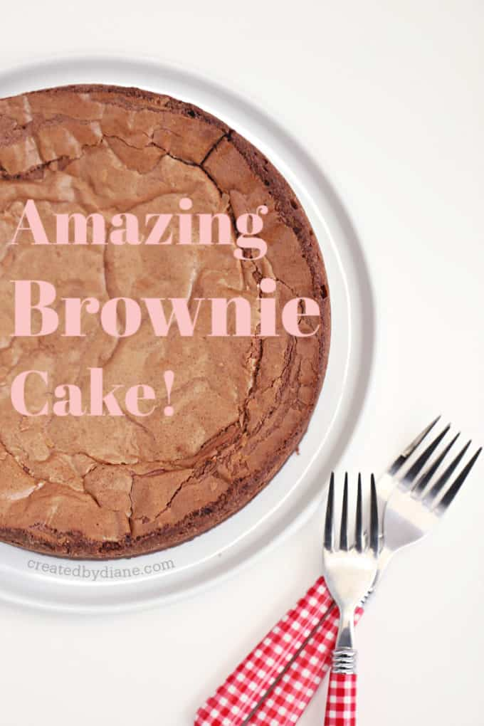 AMAZING BROWNIE CAKE recipe at createdbydiane.com