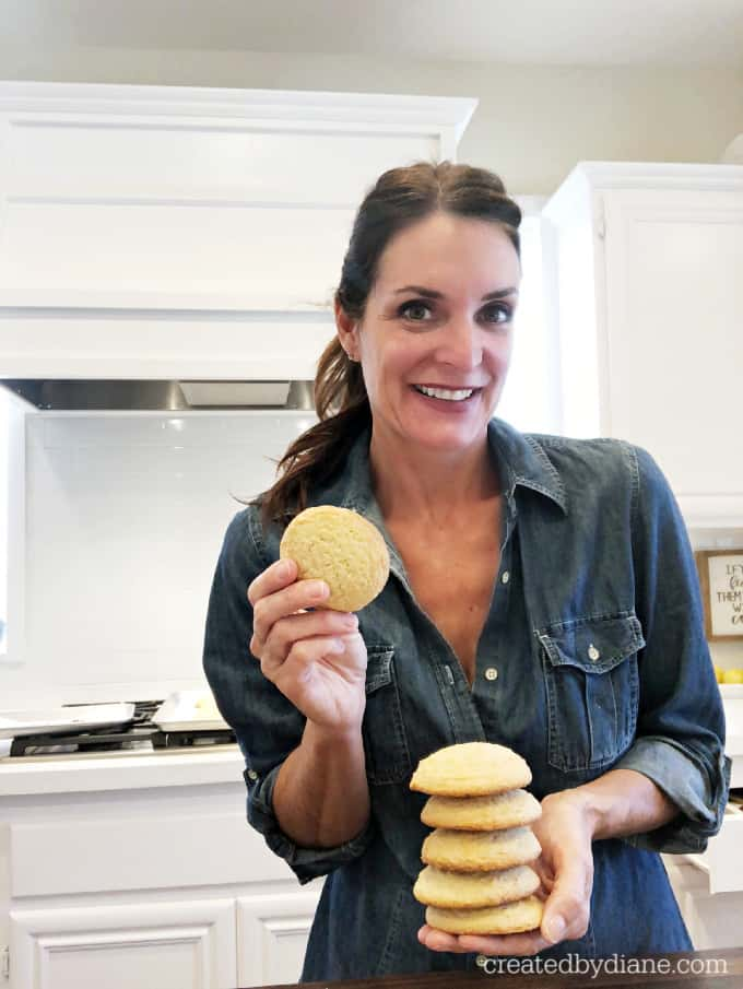 diane from createdbydiane.com with lemon iced cake cookies