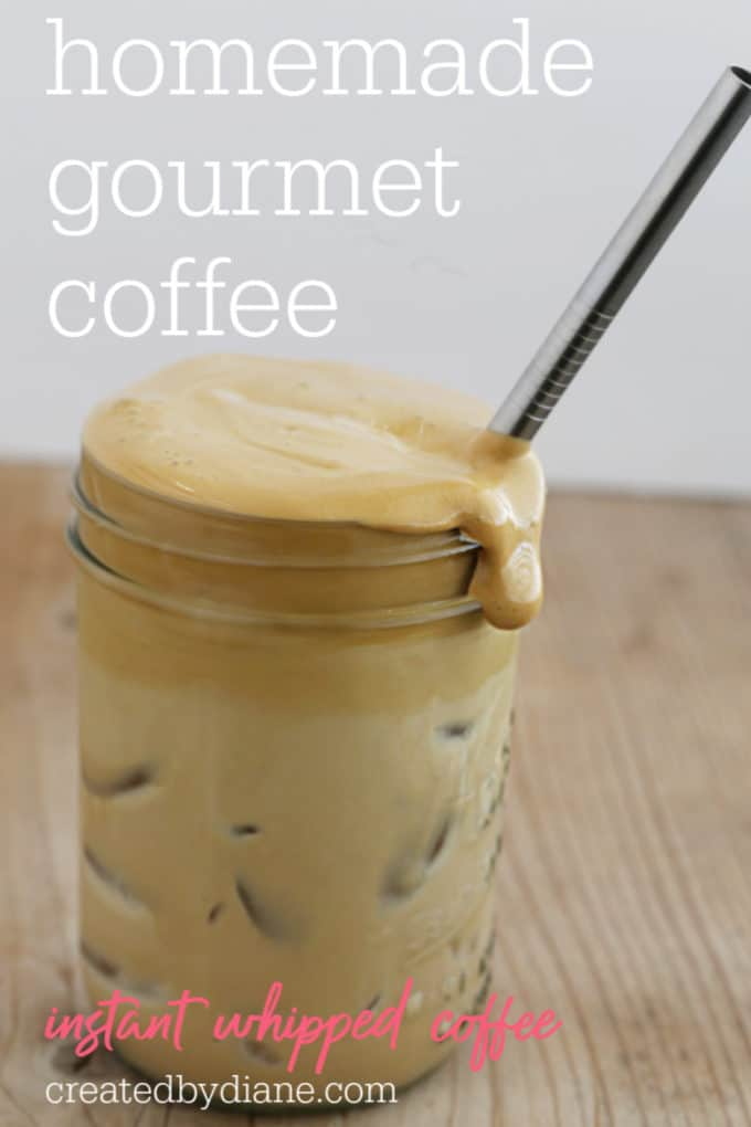 homemade gourmet instant coffee, whipped coffee createdbydiane.com