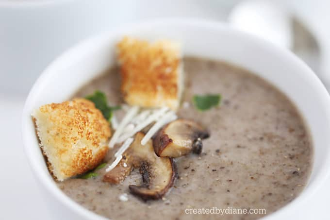 mushroom soup recipe, healthy, vegan, vegetarian createdbydiane.com