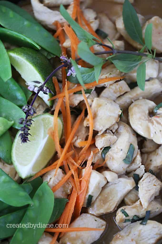 thai peanut skillet chicken recipe createdbydiane.com