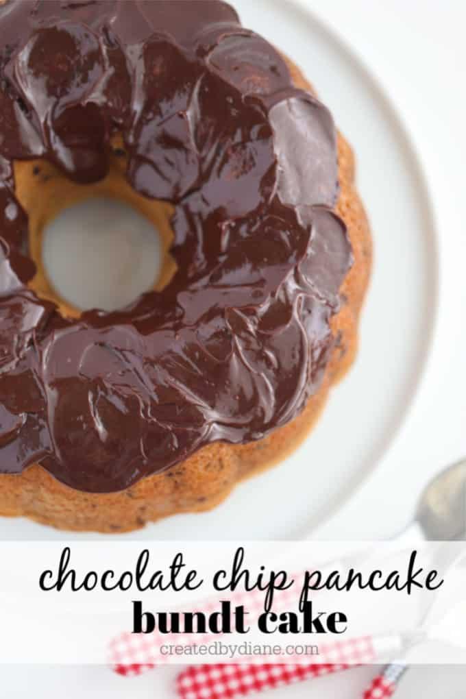 Chocolate Chip Pancake Mix Bundt Cake recipe from createdbydiane.com