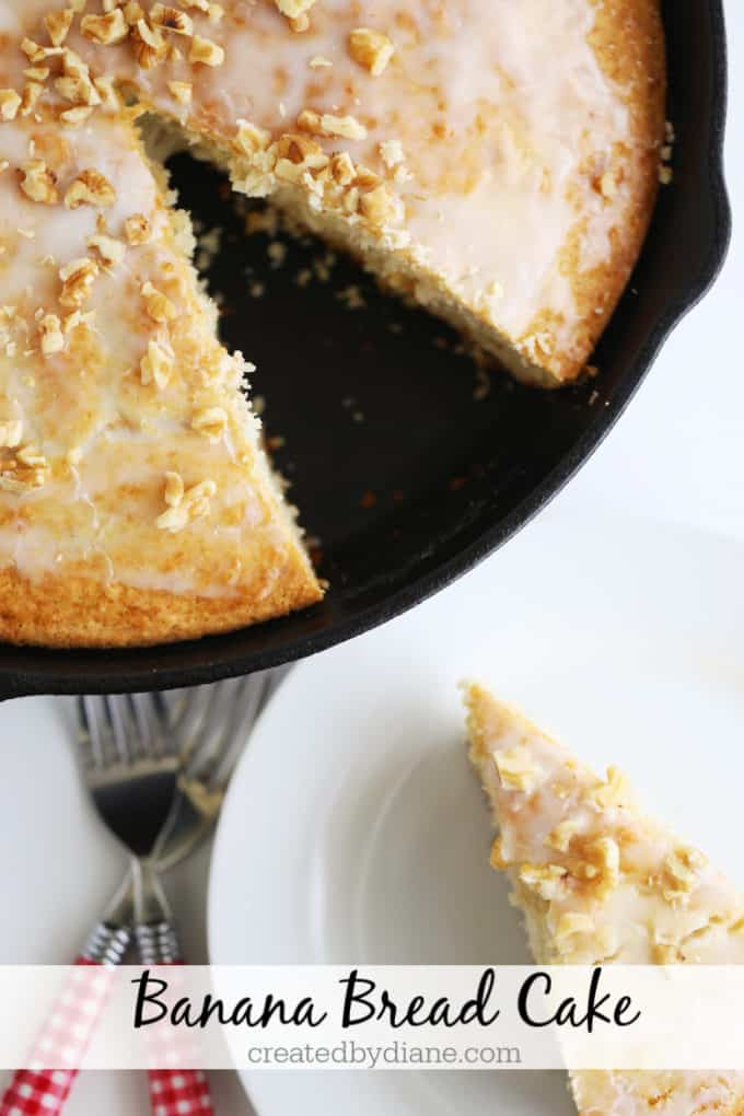 banana bread cake in a cast iron skillet createdbydiane.com
