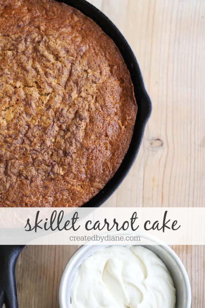skillet carrot cake recipe with a simple cream cheese tasting frosting without cream cheese createdbydiane.com