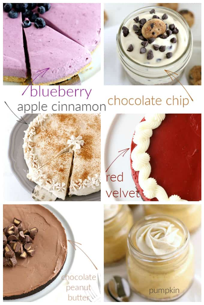 no bake cheesecake recipes made in springform pans, jars and and decorated with frosting too