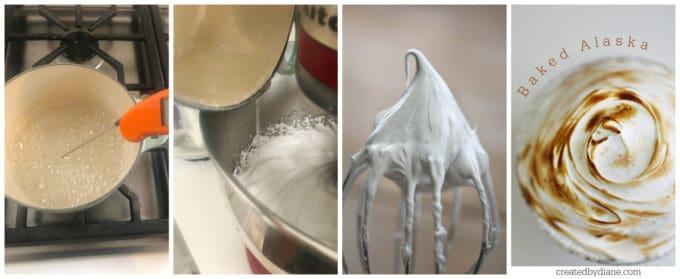 Italian meringue, stable meringue, baked alaska, simple no-bake dessert createdbydiane.com