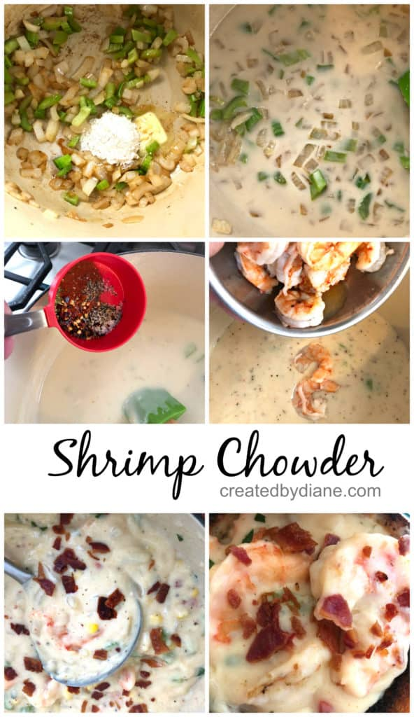shrimp chowder in the making, thick and creamy with a sweet and smokey flavor createdbydiane.com