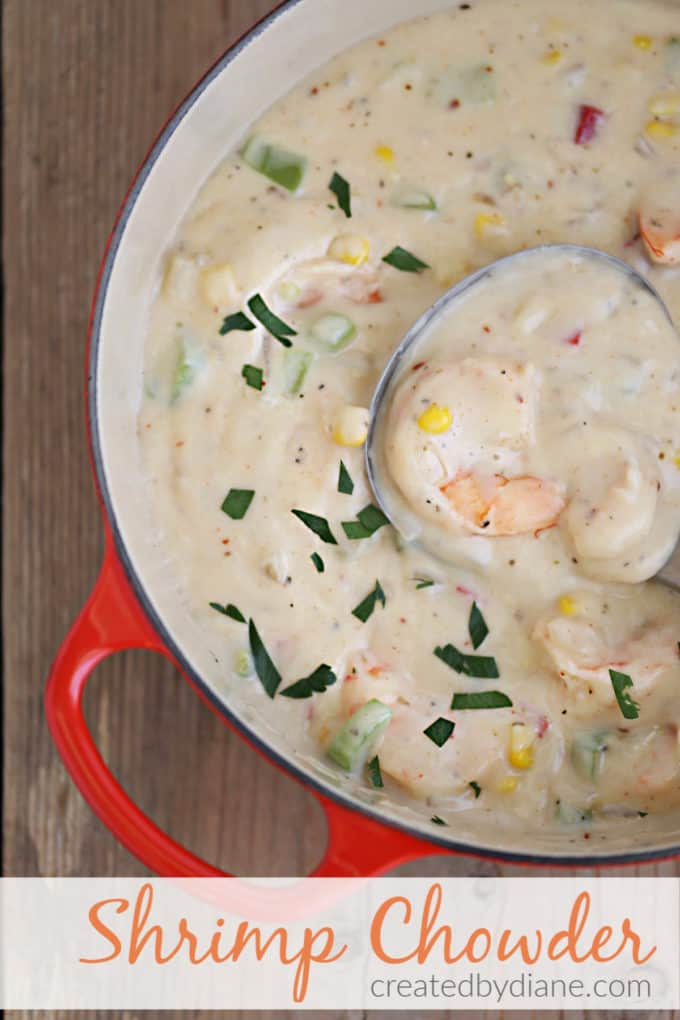 thick creamy sweet and smokey shrimp chowder recipe from createdbydiane.com