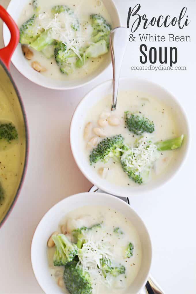 Broccoli and white bean soup recipe createdbydiane.com