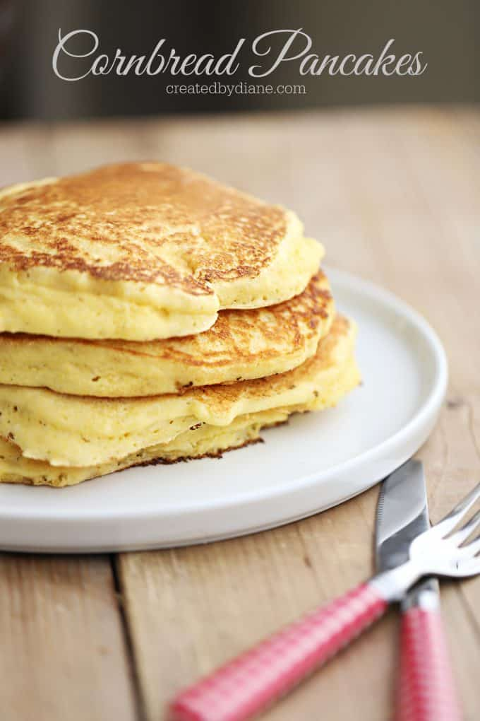 cornbread pancakes on a plate enjoy with syrup or sour cream, jam or butter, sweet or savory breakfast createdbydiane.com