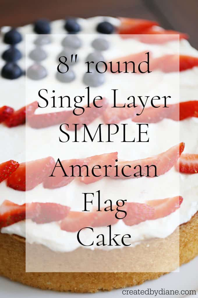 SIMPLE american flag cake 8inch round single layer vanilla cake with stailized whipped cream frosting and berries createdbydiane.com