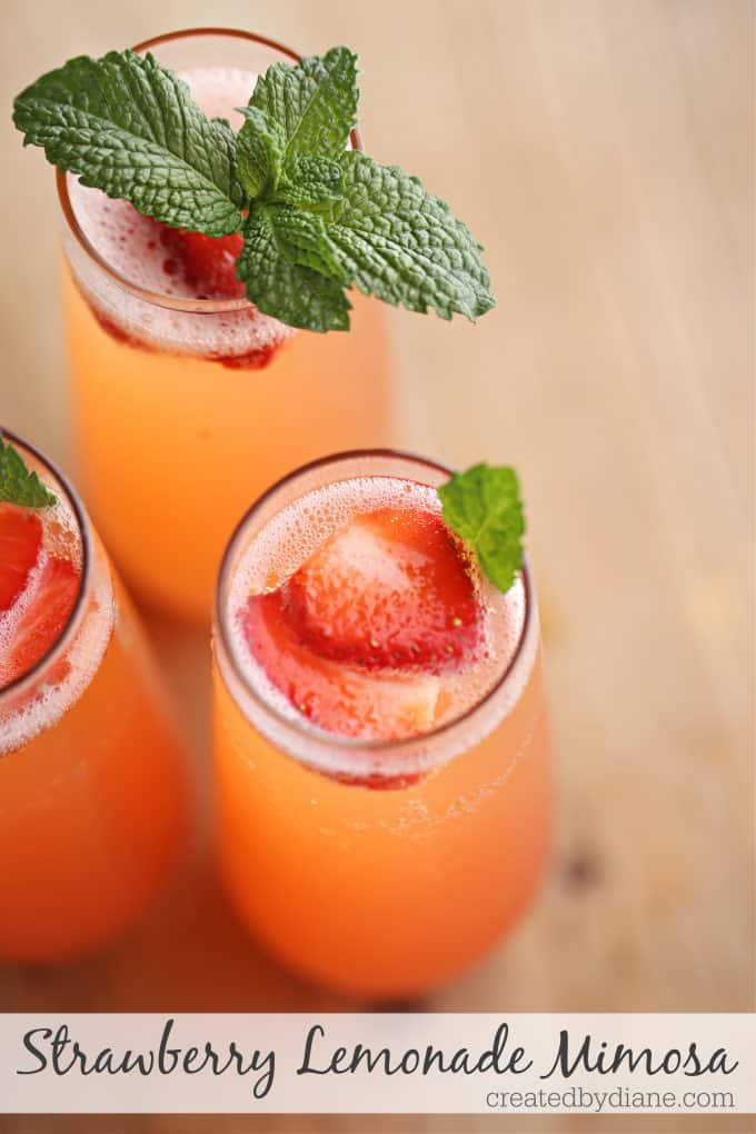 Strawberry Lemonade Mimosa recipe createdbydiane.com