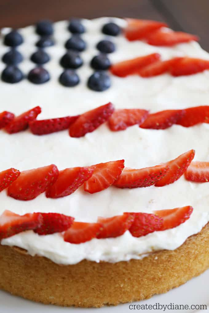 American flag cake 8 round single layer vanilla cake with stailized whipped cream frosting and berries createdbydiane.com