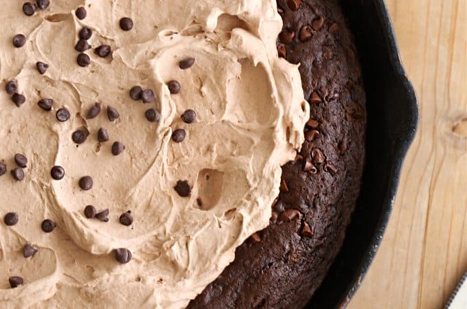 chocolate chocolate chip skillet cake recipe with chocolate pudding frosting createdbydiane.com
