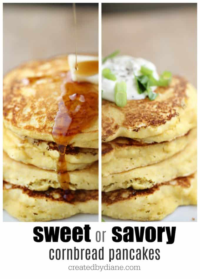 cornbread pancakes sweet or savory, so delicious made with buttermilk and cornmeal createdbydiane.com