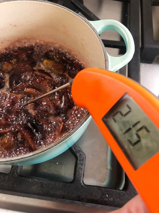 215° degree jam cooking, it's done when it reaches 220°F