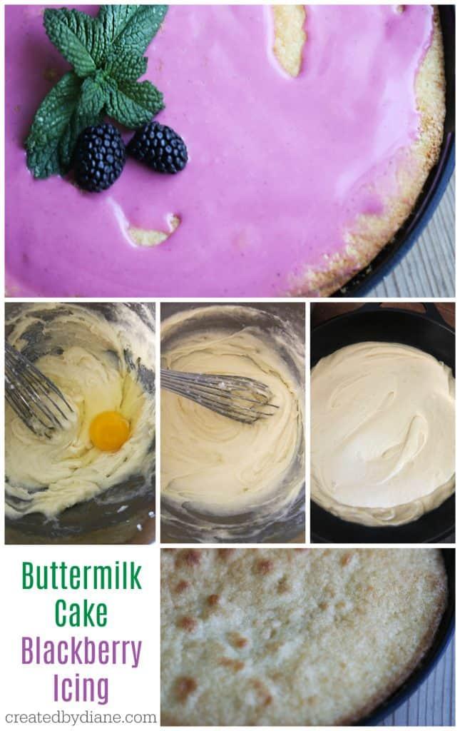 buttermilk cake recipe with simple fresh blackberry glaze icing createdbydiane.com
