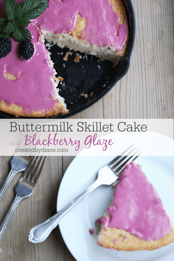 buttermilk skillet cake recipe with fresh blackberry icing createdbydiane.com