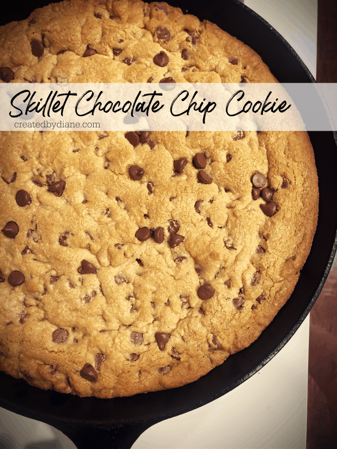 chocoalte chip skillet cookie, big, thick, crunchy and chewy createdbydiane.com