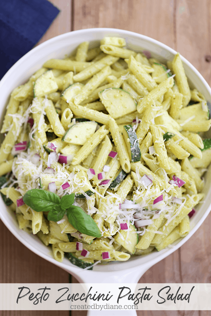 easy and delicious pesto with zucchini pasta salad red onion, basil and romano cheese createdbydiane.com