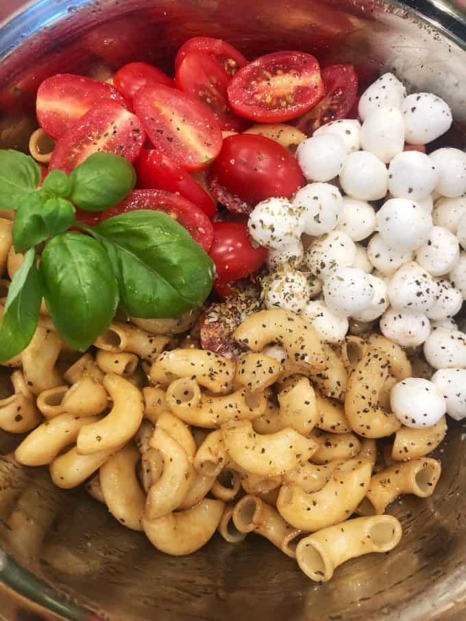 making caprese pasta salad createdbydiane.com