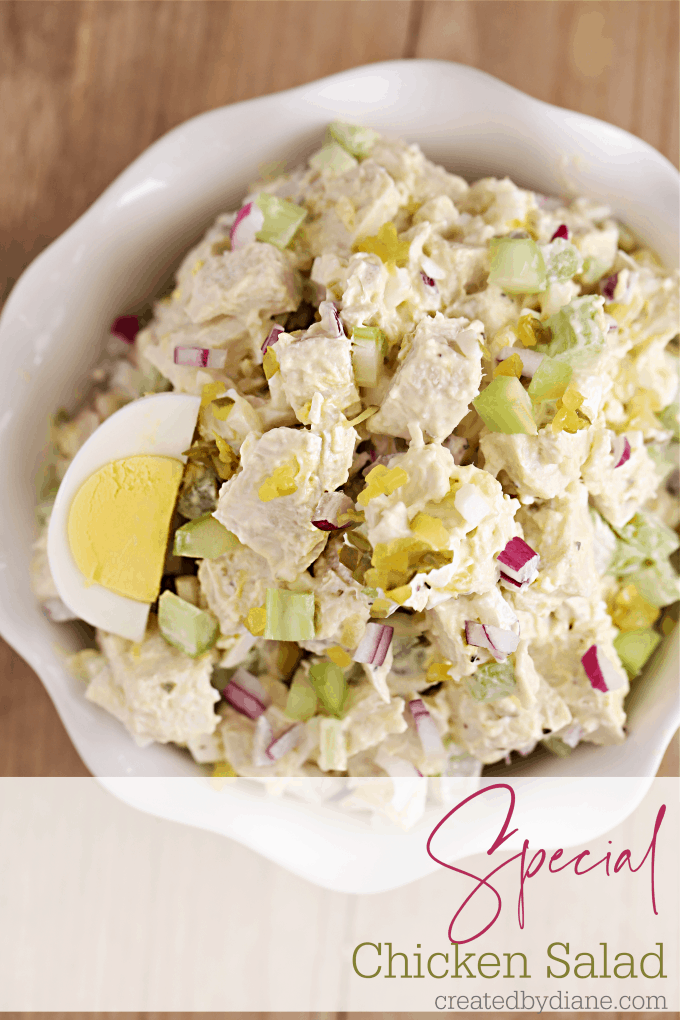 Special Chicken Salad Recipe with hard boiled eggs, dill relish tates like CHICK FIL A's chicken salad createdbydiane.com