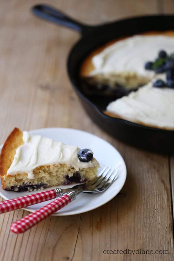 blueberry banana cast iron skillet cake createdbydiane.com