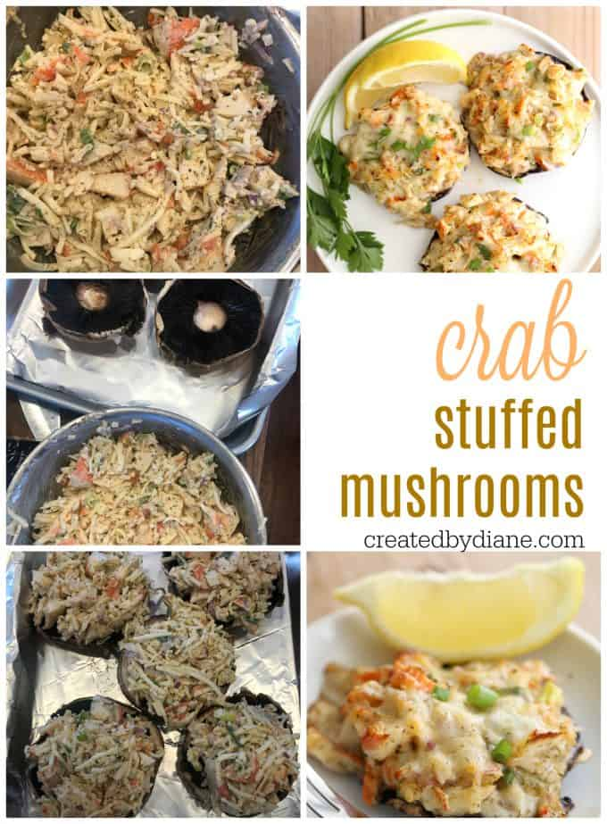 crab stuffed mushroom recipe using imitation crab createdbydiane.com