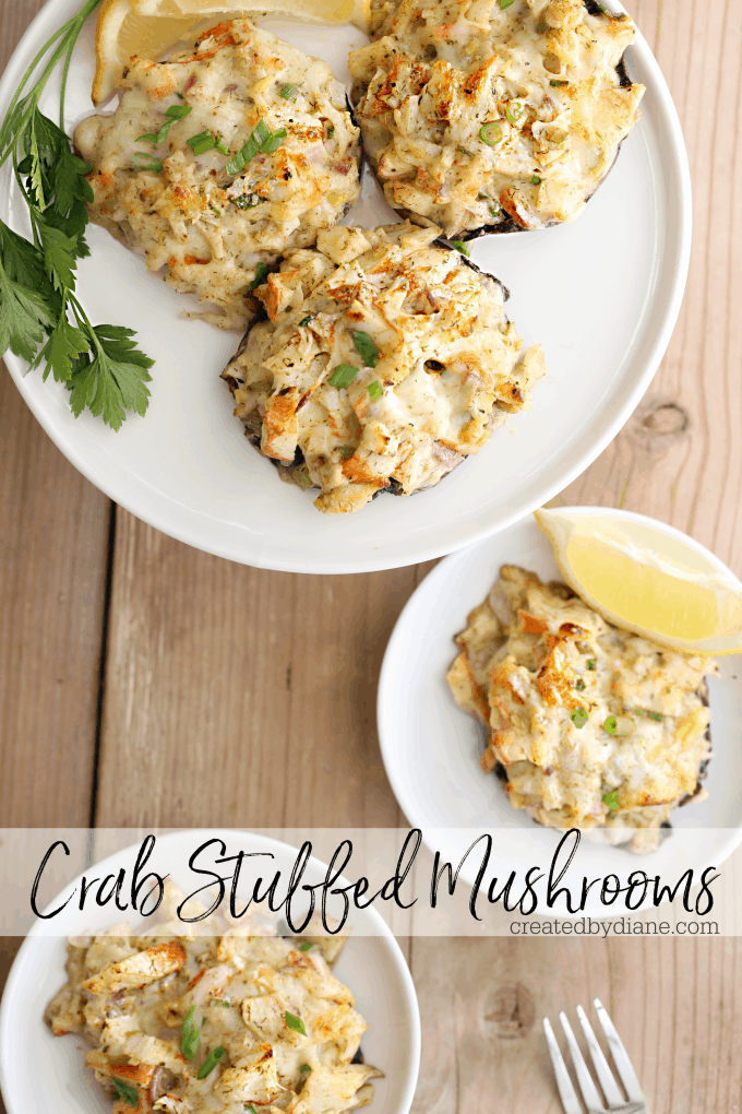 crab stuffed mushroom recipe low carb, delicious and ready in minutes createdbydiane.com
