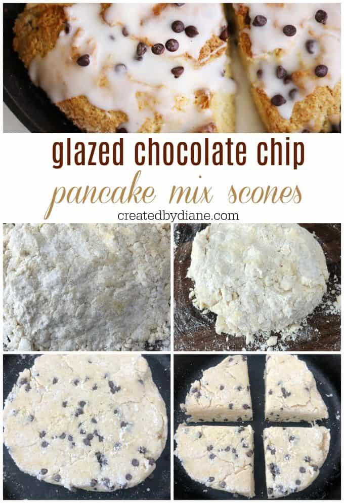 glazed chocolate chip pancake mix scones createdbydiane.com