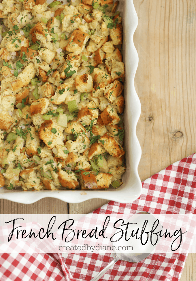 french bread stuffing 13x9 createdbydiane.com