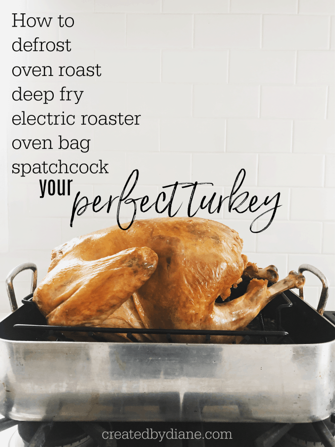 how to defrost roast, fry, oven bag, spatchcock your perfect turkey createdbydiane.com